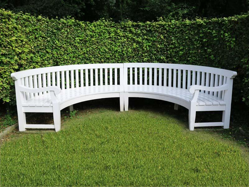 Panchina da giardino in legno bianco